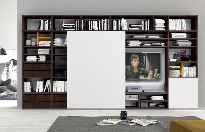 Mobile libreria con ante aperte e porta tv stl srl - Libreria con porta ...