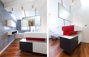 bagno mobile - design - moderno - rosso - bianco - nero - specchio bagno