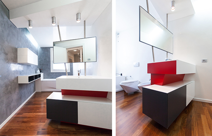 Bagno mobile design moderno rosso bianco nero specchio bagno stl srl - Bagno bianco nero ...