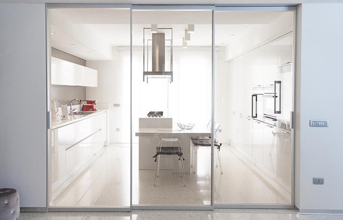 porta scorrevole - vetro - cristallo - alluminio